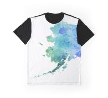 Watercolor Map of Alaska, USA in Blue and Green - Giclee Print of My Own Watercolor Painting Graphic T-Shirt
