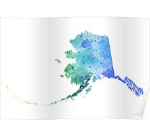 Watercolor Map of Alaska, USA in Blue and Green - Giclee Print of My Own Watercolor Painting Poster