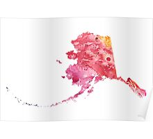 Watercolor Map of Alaska, USA in Orange, Red and Purple - Giclee Print  Poster