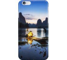 Cormorant Fisherman at Night iPhone Case/Skin