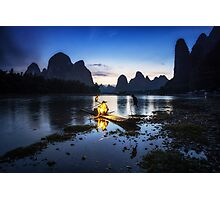 Cormorant Fisherman at Night Photographic Print