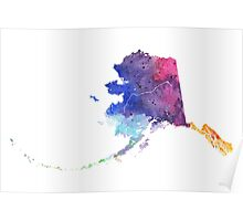 Watercolor Map of Alaska, USA in Rainbow Colors - Giclee Print of My Own Watercolor Painting Poster