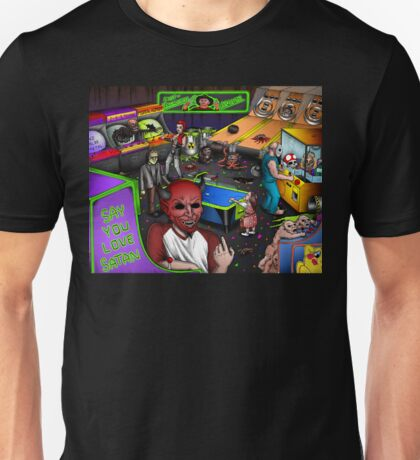 Post-Apocalyptic Arcade - The Monster Squad - Splatterhouse - Critters - The Gate - Friday the 13th - Return of the Living Dead Unisex T-Shirt