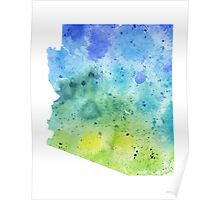 Watercolor Map of Arizona, USA in Blue and Green - Giclee Print of My Own Watercolor Painting Poster