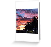 Sunset and palm trees  Greeting Card
