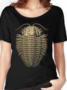 Fossil Record - Golden Trilobite on Black #1 Women's Relaxed Fit T-Shirt