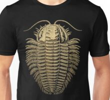 Fossil Record - Golden Trilobite on Black #1 Unisex T-Shirt