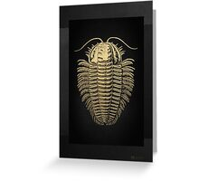 Fossil Record - Golden Trilobite on Black #1 Greeting Card