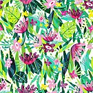 Colorful Flowers & Leafs Collage Seamless Pattern by artonwear