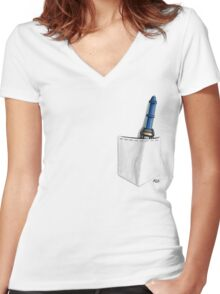 12th Doctor Sonic Screwdriver Women's Fitted V-Neck T-Shirt