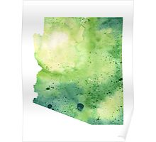 Watercolor Map of Arizona, USA in Green - Giclee Print My Own Watercolor Painting Poster