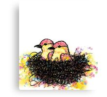 Two chicks in a nest Canvas Print