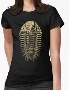Fossil Record - Golden Trilobite on Black #3 Womens Fitted T-Shirt