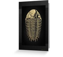 Fossil Record - Golden Trilobite on Black #3 Greeting Card