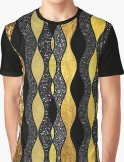 Groovy, Baby retro 1960s gold black glitter pattern Graphic T-Shirt