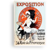 Vintage Jules Cheret 1896  Exposition de A Willette Canvas Print