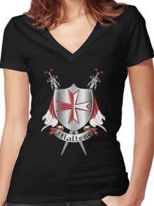 maltese Women's Fitted V-Neck T-Shirt