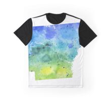 Watercolor Map of Arkansas, USA in Blue and Green - Giclee Print of My Own Watercolor Painting Graphic T-Shirt