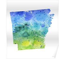 Watercolor Map of Arkansas, USA in Blue and Green - Giclee Print of My Own Watercolor Painting Poster