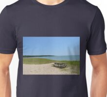 Lonely weathered picnic table on the beach Unisex T-Shirt
