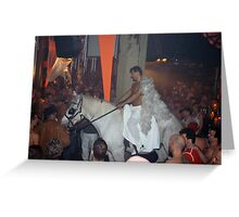 Rave Cowboy Angel on White Horse Greeting Card