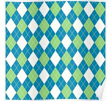 Green and Blue Argyle Poster