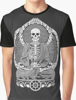 Skeleton Buddha White Halftone Graphic T-Shirt
