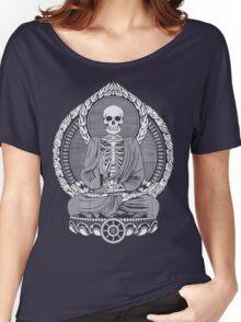 Skeleton Buddha White Halftone Women's Relaxed Fit T-Shirt