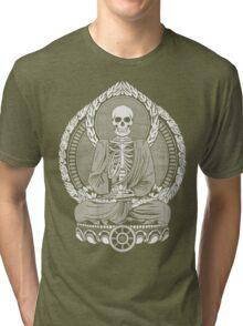 Skeleton Buddha White Halftone Tri-blend T-Shirt