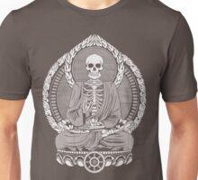 Skeleton Buddha White Halftone Unisex T-Shirt