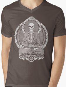 Skeleton Buddha White Halftone Mens V-Neck T-Shirt