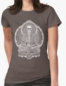 Skeleton Buddha White Halftone Womens Fitted T-Shirt
