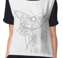 Butterflies and Flowers Continuous Line Drawing Chiffon Top