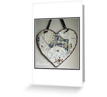 Crazy Quilt Heart With Embroidery Stitches For Friend Greeting Card