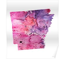 Watercolor Map of Arkansas, USA in Pink and Purple - Giclee Print of My Own Watercolor Painting Poster