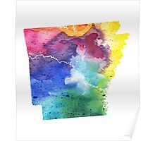 Watercolor Map of Arkansas, USA in Rainbow Colors - Giclee Print of My Own Watercolor Painting Poster