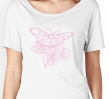 Butterflies and Flowers Continuous Line Drawing Women's Relaxed Fit T-Shirt
