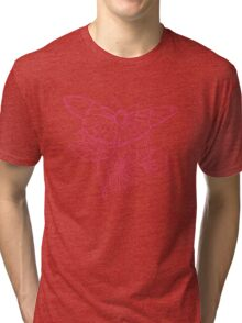 Butterflies and Flowers Continuous Line Drawing Tri-blend T-Shirt