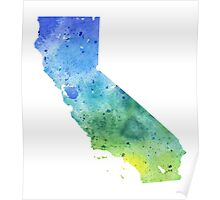 Watercolor Map of California, USA in Blue and Green - Giclee Print of My Own Watercolor Painting Poster