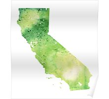Watercolor Map of California, USA in Green - Giclee Print My Own Watercolor Painting Poster