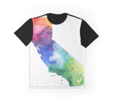 Watercolor Map of California, USA in Rainbow Colors - Giclee Print of My Own Watercolor Painting Graphic T-Shirt