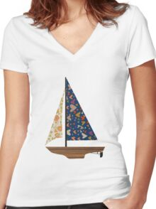 sail boat 2 Women's Fitted V-Neck T-Shirt
