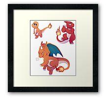 Pokemon: Charmander, Charmeleon & Charizard Framed Print