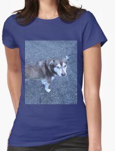 Cute Half Dog Womens Fitted T-Shirt