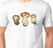 Wild mushrooms. Hand drawn watercolor painting Unisex T-Shirt