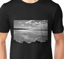Beachscape in Black and White Unisex T-Shirt