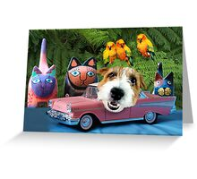 Manny's Pink Safari-mobile Greeting Card
