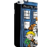 calvin and hobbes in police box iPhone Case/Skin