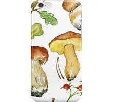 Seamless pattern with wild mushrooms iPhone Case/Skin
