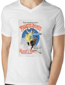 Vintage Jules Cheret 1896 Maquettes Animees Mens V-Neck T-Shirt